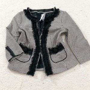 White House black market printed frill blazer